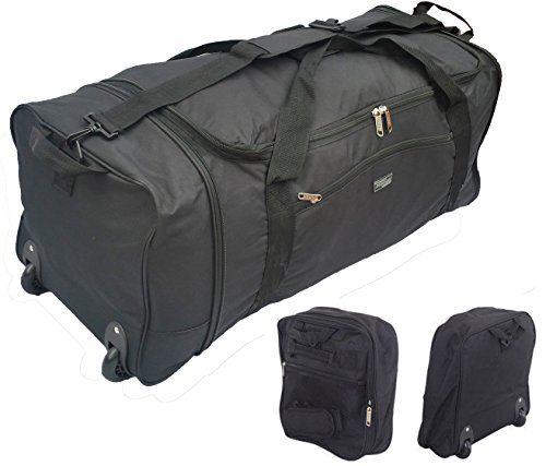 32 Inch Large Folding Wheeled Travel Sports Cargo Holdall Duffle Bag (0 Black)