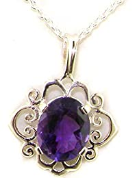 Luxury Ladies Solid 925 Sterling Silver Ornate 9x7mm Vibrant Natural Amethyst Pendant Necklace