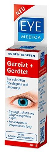 EyeMedica Gereizt+Gerötet Augentropfen| Medizinprodukt|Mit 2% Dexpanthenol|beruhigt und schützt angegriffene Augen | Geeignet für Kontaktlinsenträger | ohne Konservierungsmittel | 165 Anwendungen