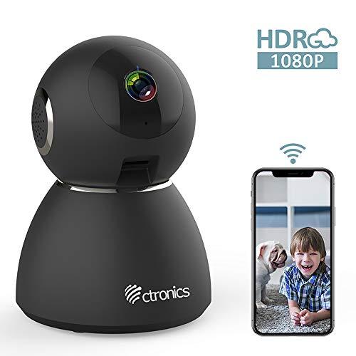 Ctronics 1080P FHD WLAN Überwachungskamera Baby IP Kamera Indoor Zwei Wege Audio 355° Winkel Heimüberwachung Haustieren 25fps Bewegungserkennung Geräuscherkennung Nachtsicht Sicherheitskamera