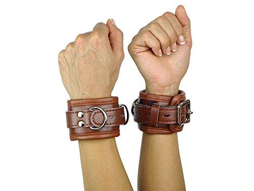 Handfesseln gepolstert und abschließbar braun Leder Fesseln