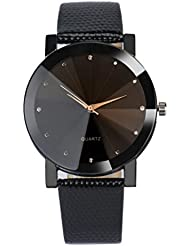 FEITONG Cuarzo de Lujo Deportes militares Dial de acero inoxidable banda de cuero reloj de pulsera