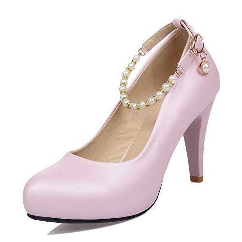 allhqfashion-womens-round-closed-toe-high-heels-soft-material-solid-buckle-pumps-shoes-pink-36