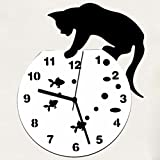 Orologio da Parete Clode Spregiudicatezza Gatto Acrilico Wall Sticker Orologio Orologio da Parete Orologio di Disegno Moderno Home Decor