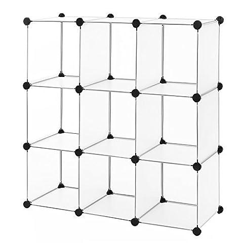 Songmics Commode Cubes/étagère de rangement modulables plastiques cadre en métal 96 x 96 x 31,5 cm LPC115S - Pannelli Traslucidi Di Plastica