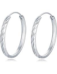 Pendientes de aro de plata de ley 925 con corte de diamante, 3 cm,