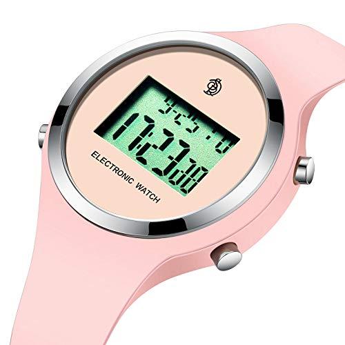 SENORS Kinder Mädchen Uhr Digital LED Analoge Quarzuhr mit Silikon Wasserdicht Wecker Rosa Armband 8813