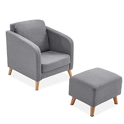 GLG Title:Fabric Linen Upholstered Accent Tub Chair Cushion Sofa with Footstool Ottoman Lounge Bedroom(LightGrey) (Lounge Chair Ottoman)