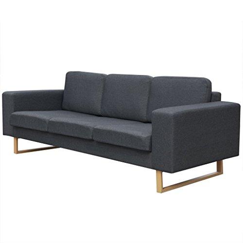 vidaXL Sofa Polstersofa 3-Sitzer Stoffsofa Loungesofa Couch Wohnzimmer Möbel Dunkelgrau