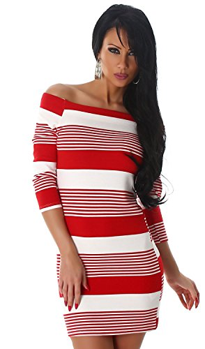 Jela London Damen Strickkleid & Pullover mit 3/4-langen Ärmeln Rot