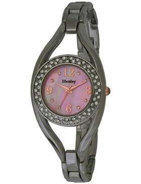 Henley Damen Armband Glaskristall Women'- Armbanduhr Pearl Dial Analog-Anzeige und Silber vergoldet mit Rotgold...