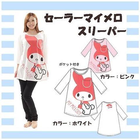 Sailor My Melody-Maglietta a maniche lunghe, 70% con tasca, colore: bianco