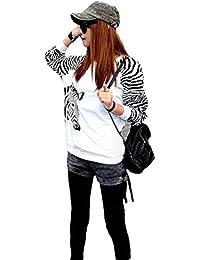 Demarkt Femme Pull Sweat shirt en Zèbre Couleur Blanc Taille S, M