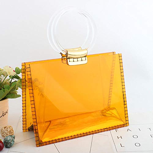 FashionCraze Damen Rundgriff Transparent Fashion Clutch Bag Strandtasche Handtasche Abend Party Tasche Prom Bag/Small Orange