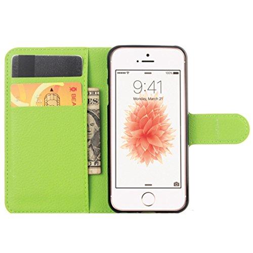 Coque Pour iphone 4 Rétro Litchi Texture PU Cuir Portefeuille Étui à rabat Housse avec Support Protection Antichocs Case Etui Pour iPhone 4 / iPhone 4S - Blanc Vert