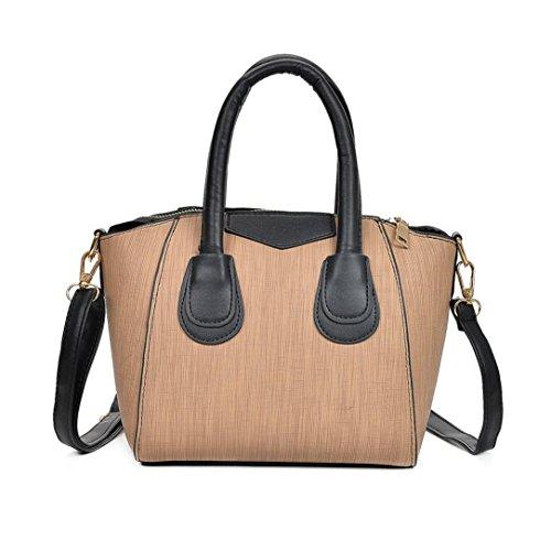 Longra Borsa a tracolla singola borsa in pelle di colore solido moda donna PU tote Cachi
