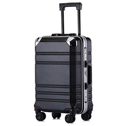 ZOUJUN Aluminiumrahmen Trolley Case Universal-Rad-Koffer 4 Wheeled Laptop-Tasche Executive Business Bag Mobile Office Cabin-Gepäck-Koffer 20 / 24inches (Color : Black) -