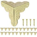 20er Antik Eckbeschlag Möbelbeschlag Möbel Ecken, Beschläge für Kisten Boxen Möbel Regal Tisch, Vintage Antik Optik, inkl.Schrauben von Anadia Gold Goldfarbig