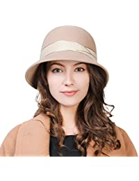 830a4c35fcb Siggi Womens 1920s Vintage Wool Felt Cloche Bucket Bowler Hat Winter  Crushable