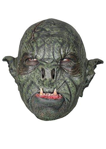 Schaurige Maske Wilder Ork in grün Orkbestie grün Fratze Herrenmaske Halloween LARP Cosplay Orkgesicht aus Latex Faschingskostüm