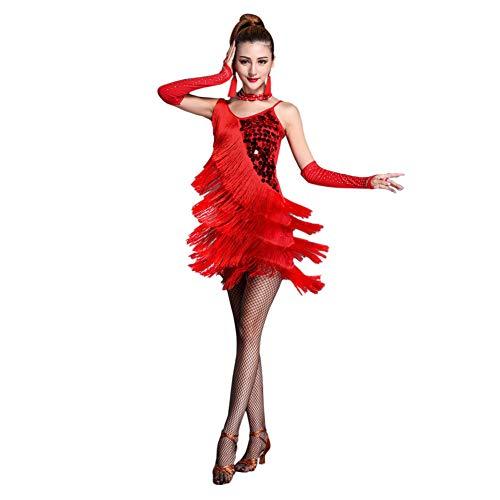 Xinvivion Latein Tanz Kleid für Damen - Walzer Ballsaal Tanzen Praxis Kostüm Paillette Quaste Tanzbekleidung