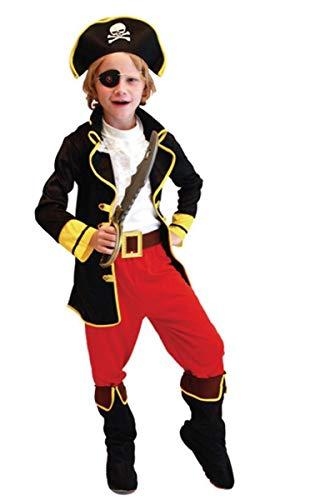 Der Piraten Kostüm Jungen Für Karibik - EMIN Kinderkostüm Deckhand Pirat Piratenkostüm Kinder Pirat-Kostüm Piratin Jungen Hochsee-Pirat Kostüm Set Fluch der Karibik Captain Jack Halloween Cosplay Faschingskostüm Karneval Verkleidung