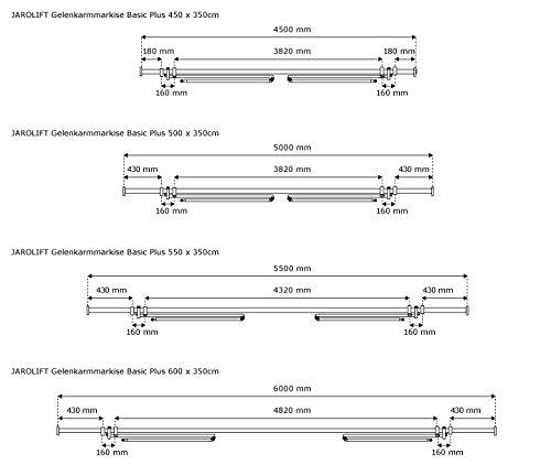 JAROLIFT Gelenkarmmarkise Basic Plus 450 x 350 cm, Stoff anthrazit Uni -