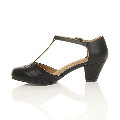 Damen Mitte Blockabsatz T-Riemen Ausgeschnitten Brogues Pumps Sandalen Größe 5 38 - 3