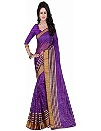 Kiranz Web Store Women's Purple Cotton Silk Saree (Purple Kwsmpb_140)