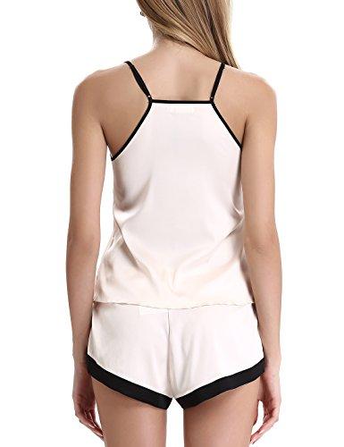 Damen Sexy Satin Pyjama Set Träger Kurze Schlafanzüge By NORA TWIPS Aprikose
