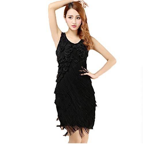 CX Frauen Mit Fransen Latin Dance Dress Dreidimensionale Blütenblätter Hals Tango Rumba Latin Dance Kostüm (Color : Black, Size : One Size)