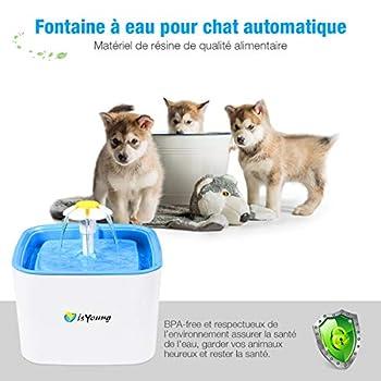 isYoung 2.5L Fontaine à Chat Chien +2 Filtres à Charbon Actif Grande Capacité Fleur Automatique Électrique Silencieux pour Les Animaux domestiques