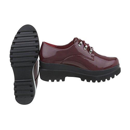 Chaussures femme Mocassins Bloc Chaussures a laniere Ital-Design Bourgogne