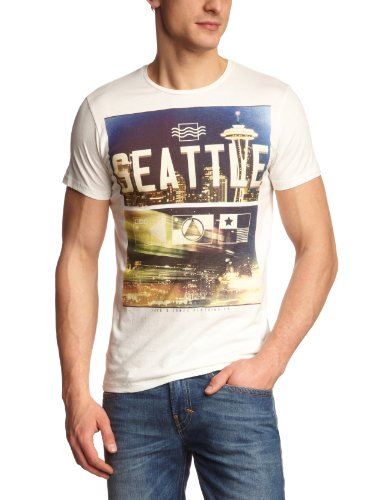 JACK & JONES Herren T-Shirt Slim Fit 12068699 US Tee SS Weiß (CLOUD DANCER MINNESOTA PRINT)