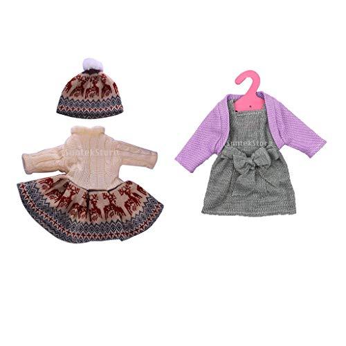 FLAMEER Puppen Winterkleidung Pullover, Mantel, Kleid, Hut Outfit Set Für 18 Zoll Puppen
