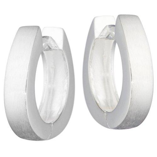 Vinani Klapp-Creolen oval mattiert-glänzend Sterling Silber 925 Ohrringe CBM