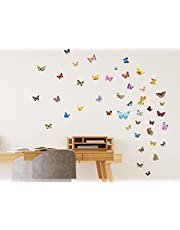 Solimo Wall Sticker for Home (Butterflies,  ideal size on wall ,  93 cm X 45 cm)