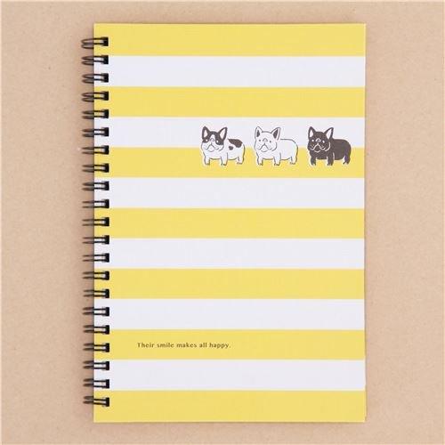Libreta de anillas bloc rayas amarillo blanco animal perro