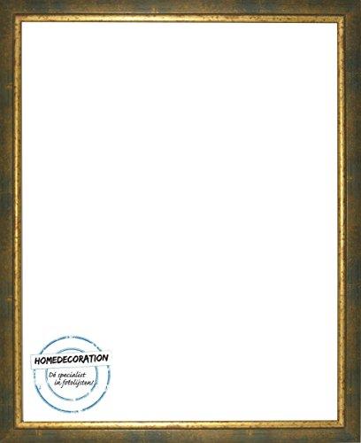 Napoli Bilderrahmen Massivholz mit vintage patiniertem Cottage Look und goldfarbener Innenkante 16,5 x 23 cm hochwertige Leiste 23 x 16,5 cm Farbwahl hier: Gruengold ohne Verglasung