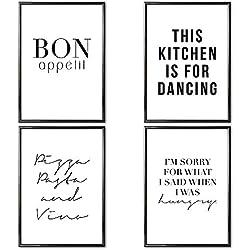 VERSCHIEDENE Poster Set 's » Küche « 4 x DIN A4 auch mit Bilderrahmen   Bilder schwarz weiß mit Sprüchen für Wohnzimmer   Kunstdruck, Wandbild, Bild mit Spruch für Esszimmer mit Rahmen