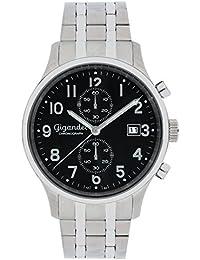 Gigandet Quarz Herren-Armbanduhr Skyscraper Chronograph Uhr Datum Analog Edelstahlarmband Schwarz Silber G49-006
