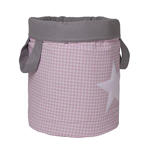 Belino Vichy - Bolsa juguetero acolchado, diseño estrellas, 30 x 40 cm, color rosa