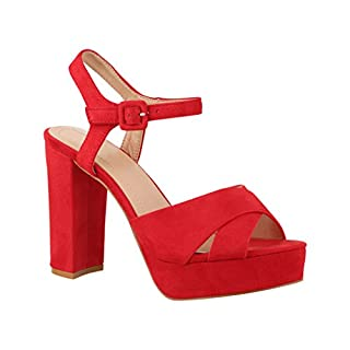 Elara Damen Pumps | Bequeme Peep-Toe Pumps | Trendige Plateau High Heels | Chunkyrayan AT0986 Red-36