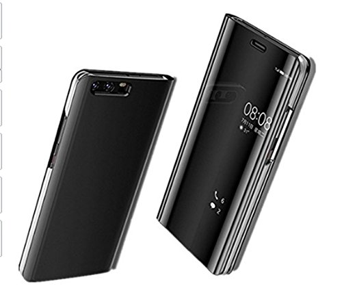 Custodia Huawei P10 / P10 Plus / P10 Lite Cover Case,Pacyer® Custodia Specchio Copertura Caso PC Shell Fondina Ultra Sottile Anti-Scratch Book Style Bumper (Nero, Huawei P10 Plus)