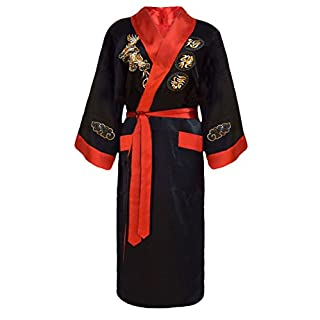 Men's Reversible Embroidered Japanese Kimono Robe Sleepwear Dressing Gown - Black and Red - size: M