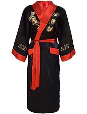 Kimono japonés hombre negro y rojo bata reversible