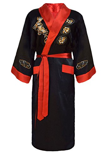 Herren japanischer Morgenmantel Kimono umkehrbar schwarz und rot XL (Reversible Kimono)