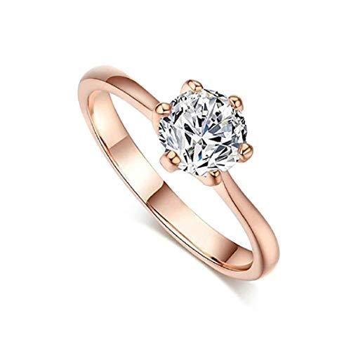 Hochwertige ICHQ, Elegante Ringe Frauen Diamant Sechs Klaue Zirkon Kristall Ringe Engagement Hochzeit Ringe Schmuck Geschenk (Rose Gold, 7) - Diamanten Frauen Ring Für