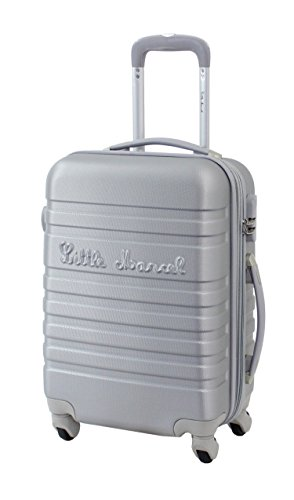 Valise Taille Cabine 55cm Little Marcel 'Malette' - ABS - 4 roues (Argent)