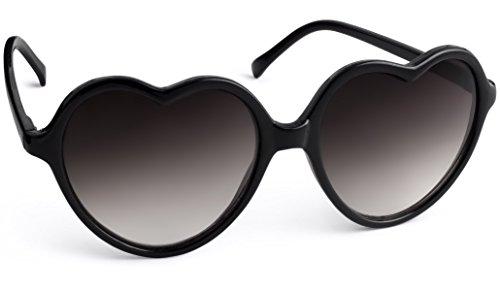 UVprotect® Damen Retro Herz Sonnenbrille Schwarz W50